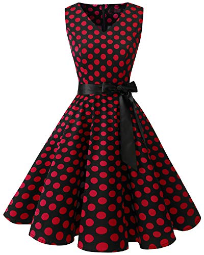 Bridesmay Women's V-Neck Audrey Hepburn 50s Vintage Elegant Floral Rockabilly Swing Cocktail Party Dress Black Red Dot 2XL