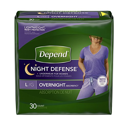 Depend Night Defense Incontinence Overnight Underwear for Women,  30 bedtime pants, Large
