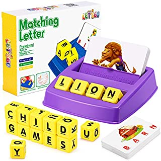 Toys for Kids Age 3-8, Matching Letter Game Learning Toys for 4-8 Year Olds Spelling Games for Kids Educational Toys Preschool Kindergarten Reading Games for Kids Best Xmas Gifts 2020 for Kids, Purple