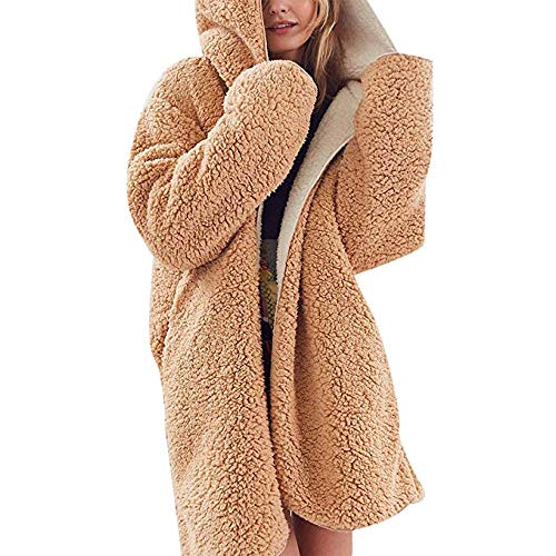 Reversible Coat Fur Faux (Women Casual Winter Hooded Cardigan Coat Warm Faux Fur Reversible Outwear with Pockets (Khaki,M))