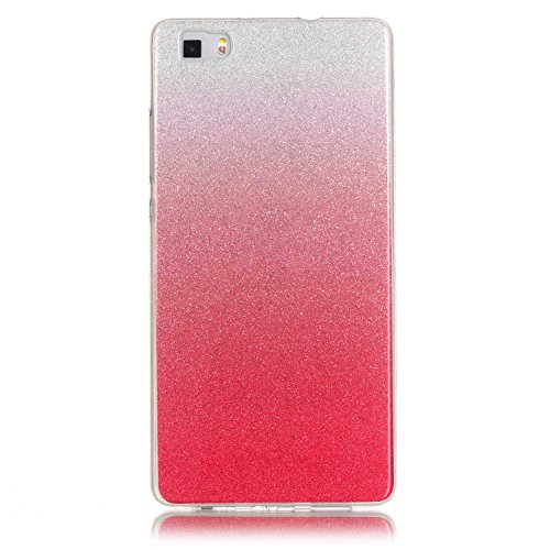 Funda para Huawei P8 Lite 2016,Huawei P8 Lite Carcasa,Huawei P8 Lite Case,Felfy Ultra Fina Alta Calidad Suave de TPU Funda Carcasa Caso Parachoques Funda Lujo Premium Cambio gradual Bling Caso Funda G Rojo