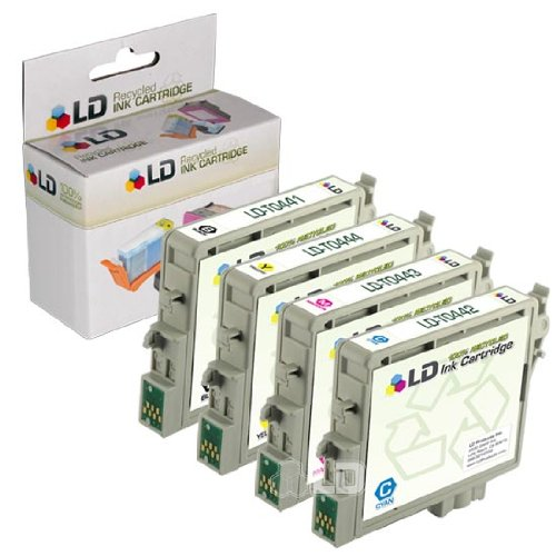 LD Remanufactured Ink Cartridge Replacement for Epson T044 (Black, Cyan, Magenta, Yellow, 4-Pack) (T044220 Ink Cyan)