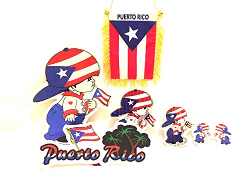 ker decals & Puerto Rico car flag,6pc pack ()