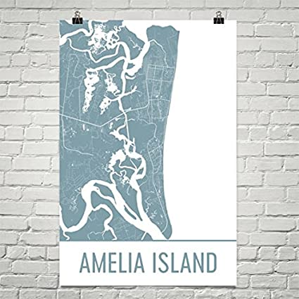 Amazon.com: Modern Map Art Amelia Island Map, Amelia Island Art ...