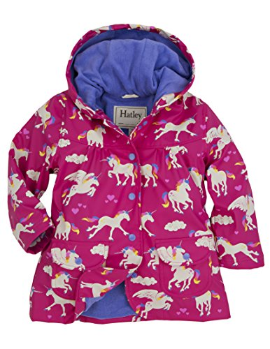 Hatley Little Girls' Raincoat Unicorns and Rainbows, Pink Unicorns and Rainbows, 4 by Hatley