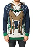 Ugly Christmas Sweater Mens Hooded Reindeer Sweater