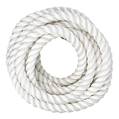 SGT KNOTS Twisted Nylon Rope (1/2 inch) Multipurpose Utility Line - Rot, Alkali, Chemical, Weather Resistant - Crafts, DIY Projects, Towing, Dock Lines, Heavy Load Uses (50 ft - White): Home Improvement