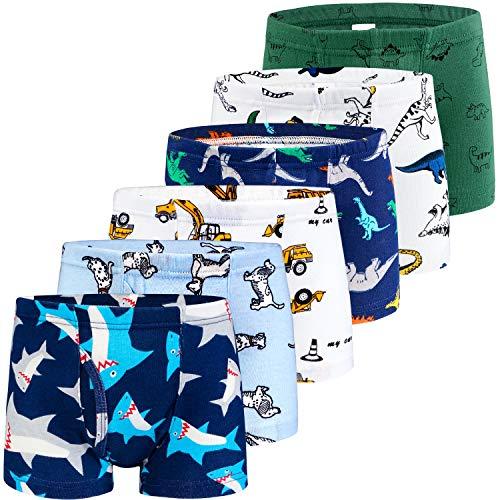 (BOOPH Boys Boxer Briefs, 6 Pack Excavator Toddler Underwear Shorts for Boy 2-3Y )