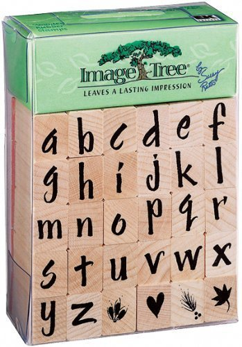 Brand New Image Tree Handle Rubber Stamp Set-Susy Ratto Brush Letter Alphabet/Lower Brand -