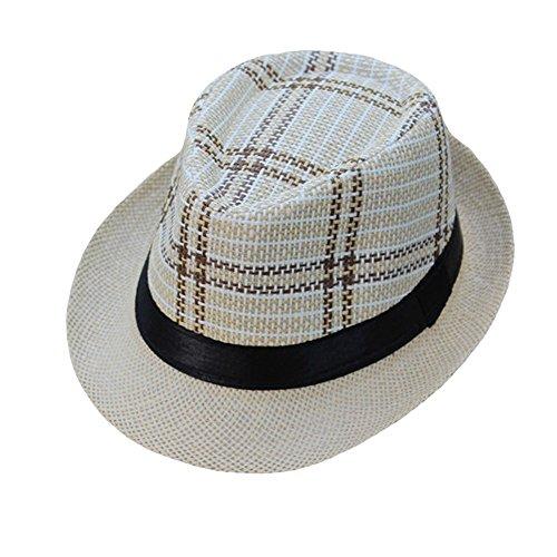(❤ Fulijie Glamorous Straw Cap, Unisex Gangster Cap Lattice Pattern Beach Sun Straw Visor Sun Hat British Jazz Beach Shade)