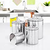 Old Dutch 4 Piece Hammered Stainless Steel Canister Set