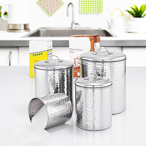 Old Dutch 943 4 Piece Hammered Stainless Steel Canister Set, 4 quart/2 quart/1-1/2 quart/1 quart, Copper Distressed Handle Pulls