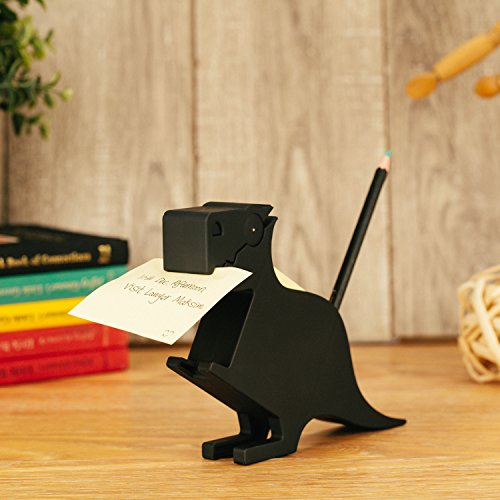 Dinosaur Memo Holder and Pen Holder for Desk Note pad Clip memo Animal Dispenser for Note pad,2 Packs memo (Dinosaur, Blcak)