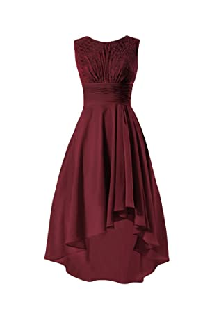 e9ef0de3eb25e DaisyFormals Party Dress Lace Bridesmaids Dress High Low Dress (BM2437)-  Dark Scarlet