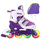 JIFAR Adjustable Inline Skates Kids, Roller Skates All Wheels Light up Illuminating Rollerblades Girls Boy, Ladies,30-Day Guarantee!