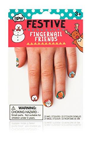 NPW Festive Christmas Fingernail Friends Nail Sticker (25 Count) (Christmas Kids Nails)