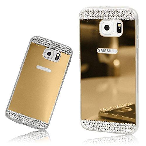 Xtra-Funky Serie Samsung Galaxy Note 5 de silicona TPU delgada caja del espejo brillante con diamantes de imitación de diamante de cristal brillante - Oro Oro
