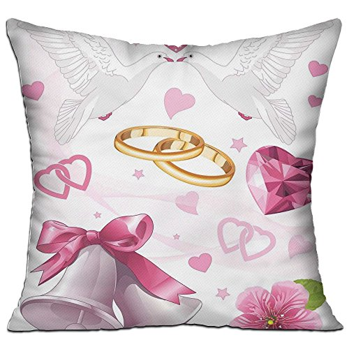 HAIXIA Wedding Decorations Wedding Themed Artwork Invitation Announcement Hearts Rings Birds Pink White Gold Home Decor Throw Pillow Cover 18