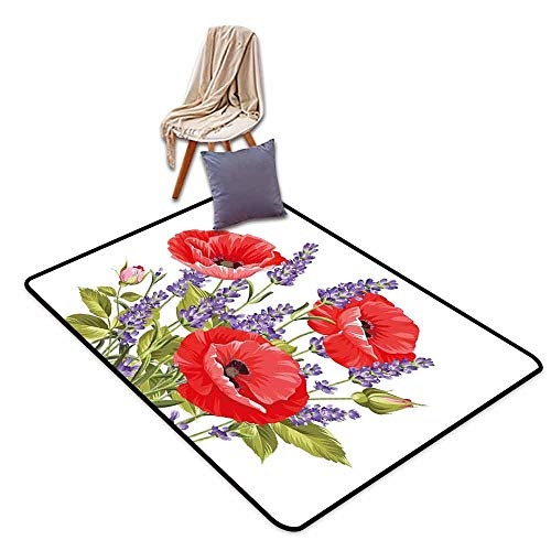 Anti-Static Rug Lavender Bunch of Lavender and Poppy Flowers Fresh Rustic Botanical Bouquet Personality W71 xL82.5 Red Violet Olive Green