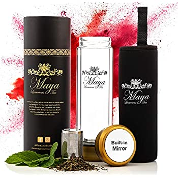 Tea Infuser Bottle by Maya Luxurious - Leakproof Double Wall Glass Travel Tea Mug with Stainless Steel Filter - BPA Free Tea Tumbler + Strainer for Loose Leaf Tea - Coffee Thermos - Fruit Water 14oz