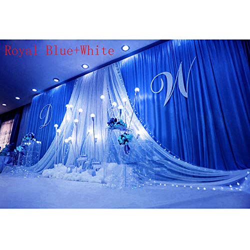 GoodsFederation 20x10ft Romantic Wedding Stage Decorations Backdrop Curtains with White Satin Yarn Gauze Background Silk Fabric Drape Curtains for Wedding Birthday Prom Party Event (Royal Blue) (Best Wedding Stage Decoration)