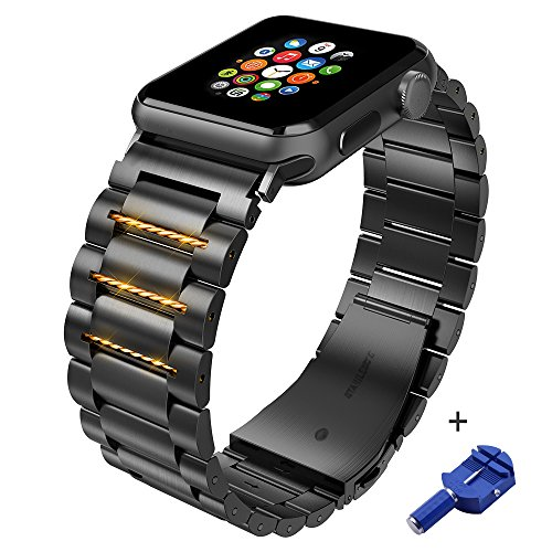 for Apple Watch Band 42mm Stainless Steel, iWatch Replacement Metal Link Bracelet for 42mm Apple Watch Series 3 2 1 with Double Button Butterfly Folding Clasp (Black)