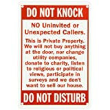 """SmartSign Aluminum Sign, Legend """"Do Not Knock-Do Not Disturb"""", 10"""" High X 7"""" Wide, Red on White"""