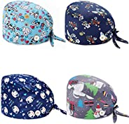 4 Pieces Working Cap with Sweatband Tie Back Caps with Buttons Bouffant Turban Hat Colorful Printed Adjustable