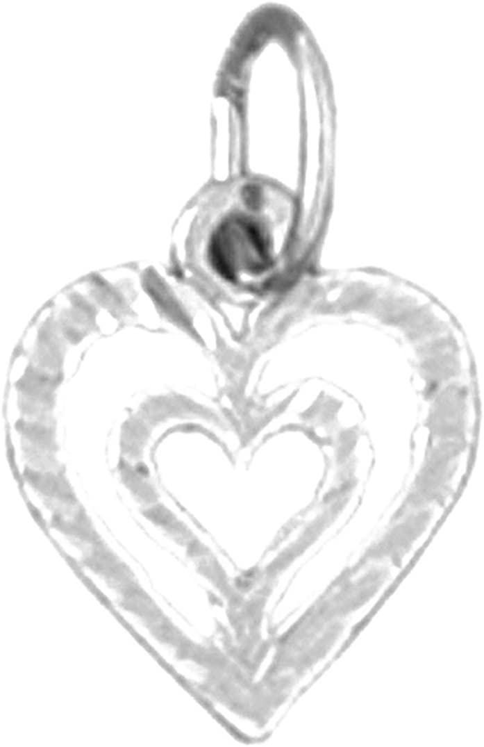 Jewels Obsession Silver Heart Necklace Rhodium-plated 925 Silver Heart Pendant with 18 Necklace