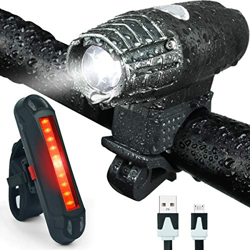 Bonnevie USB Rechargeable Bike Light Set,1500mA Powerful Waterproof Mountain Bicycle Headlight and Taillight Set Super Bright Front Light and Rear Light for Cycling Safety ()