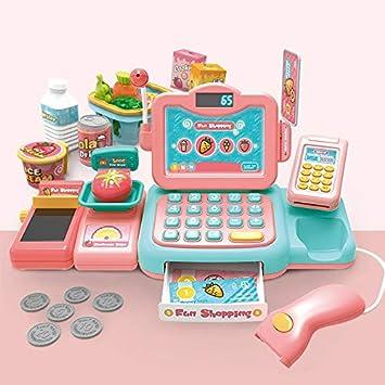 Supermercado caja registradora chica de juguete slivethe familia niña cumpleaños regalo bebé 3-5 años de edad 4 simulación caja registradora Cajero - Computación inteligente de identificación - Polvo: Amazon.es: Juguetes y juegos