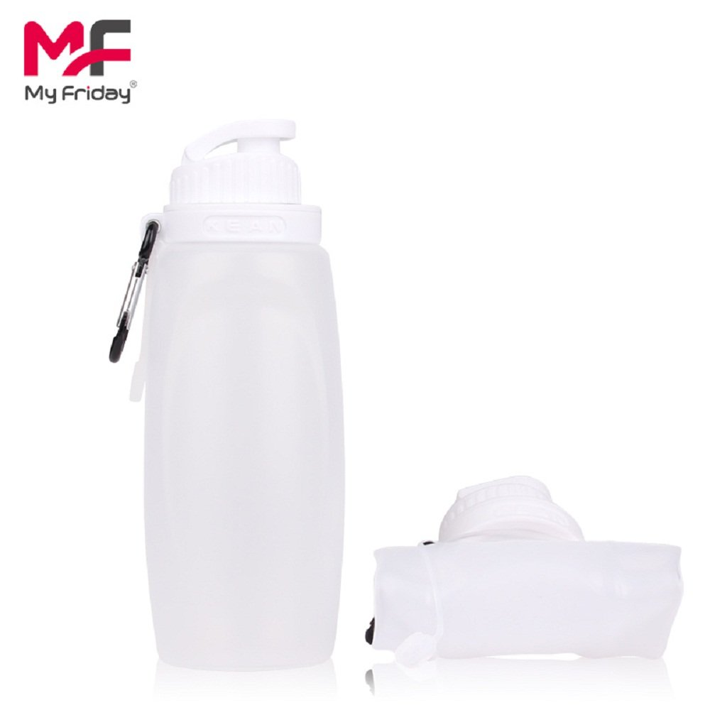 MyFriday Foldable Bottle Silicone Sports Water Bottle BPA Free FDA Approved 100% Food Grade Silicone Collapsible Unbreakable Leak Proof Reusable Heatproof Travel Bottle for Kids 11OZ 320ml(Clear)