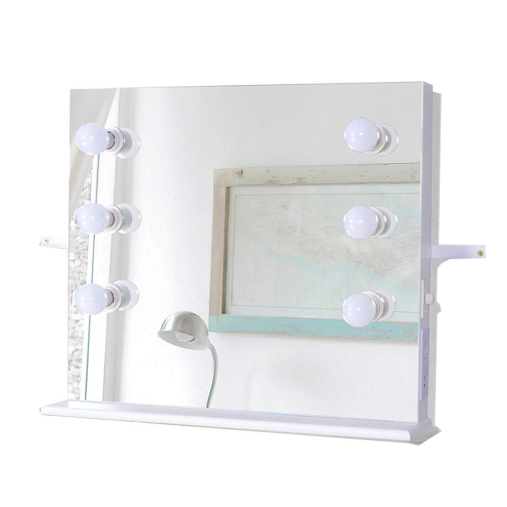 GLS Hollywood White Vanity Makeup Mirror with LED Tabletops Lighted Cosmetic Mirror with Dimmer Dressing Table Mirrors Wall Mounted Mirror with LED Dimmable Bulbs, USB Port