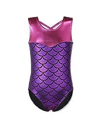 HUANQIUE Girls Kids Swimming Gymnastic Unitard Swimsuit Sleeveless One Piece Scale Purple 5-6 Years