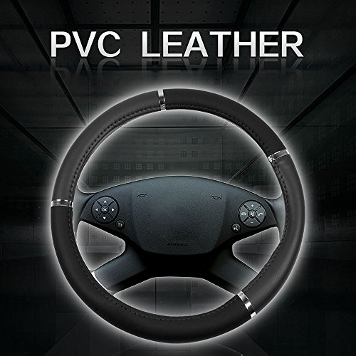 Steering 1985 Jetta Volkswagen (cciyu Steering Wheel Cover Universal 15 Inch Leather Grey with Silver Grip Steering Wheel Cover)