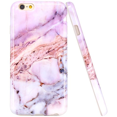 iPhone 6 Case, iPhone 6S Case, JAHOLAN Purple Marble Design Slim Shockproof (Purple Silicone Skin Case Cover)