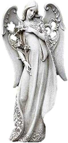 Angel Holding Lilies Concrete Look 9 x 18.5 Resin Stone Outdoor Garden Statue