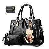 Donalworld Women Faux Leather Handbag Messenger Bag Ladies Tote Small Bag Bear Pendant