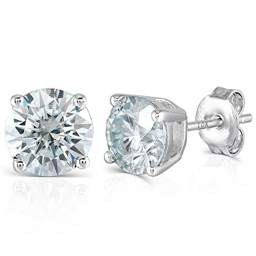 (DovEggs 10K White Gold Post 4ct 8mm Blue Tinted Moissanite Stud Earrings Platinum Plated Silver Push Back for Women)