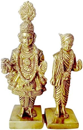BHARAT HAAT Pure Brass Metal Beautiful Statue Bhagvan Swami Narayan Shri Shajanand Swami and Pujya Akshar Murti Shri Gunatinadan Swami. BAPS Fine Finish Carving Work BH00132