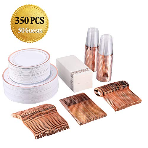 FOCUSLINE 350 Piece Disposable Rose Gold Dinnerware Set for Party or Wedding-100 Plastic Plates – 50 Plastic Silverware…