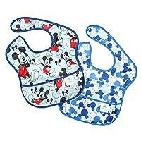 SuperBib Bickkins Disney Mickey Mouse, babero para bebé, resistente al agua, lavable, resistente a las manchas y los olores, 6-24 meses, paquete de 2 - Clásico /Ícono