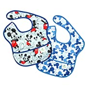 Bumkins Baby Bib, Disney Waterproof SuperBib 2 Pack, Mickey Mouse (Classic/Icon) (6-24 Months)