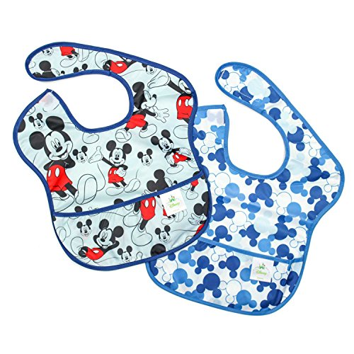 Bumkins Disney Mickey Mouse SuperBib, Baby Bib, Waterproof, Washable, Stain and Odor Resistant, 6-24 Months, 2-Pack - Classic/Icon Disney Gourmet Mickey Mouse