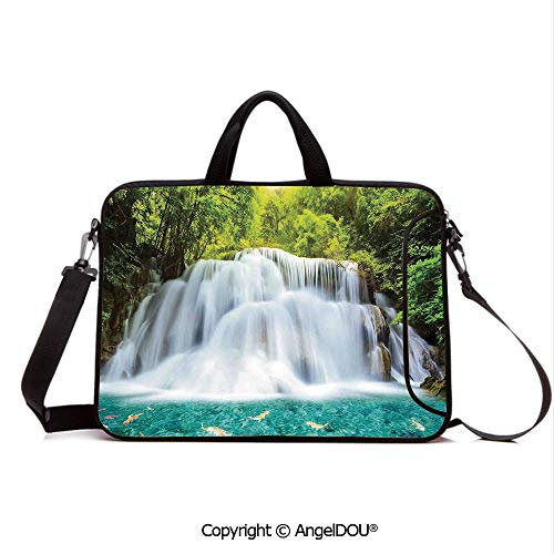 AngelDOU Laptop Sleeve Notebook Bag Case Messenger Shoulder Laptop Bag Clouds of Fog Rolling Over Waterfall and Trees Clear Pond with Fishes Compatible with MacBook HP Dell Lenovo Turquoise Green Wh