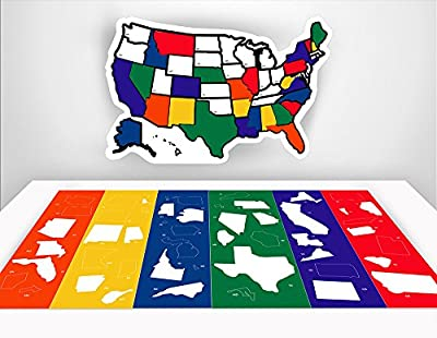 "RV Decals - RV Trailer Accessories - RV State Sticker Map - Road Trip - RV Stickers - USA State Map - Motorhome Sticker - Road Trip Accessories - Travel Stickers - Map of US States - 13"" x 17"" inches"