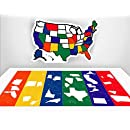 "RV State Sticker Travel Map - 13"" x 17"" - USA States Visited Decal - United States Non Magnet Road Trip Window Stickers - Trailer Supplies & Accessories - Exterior or Interior Motorhome Wall Decals"