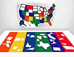 """RV State Sticker Travel Map - 13"""" x 17"""" - USA States Visited Decal - United States Non Magnet Road Trip Window Stickers - Trailer Supplies & Accessories - Exterior or Interior Motorhome Wall Decals"""