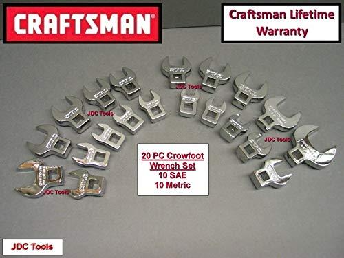 CRAFTSMAN 20 pc 3/8 DRIVE CROWFOOT WRENCH SET SAE METRIC 10