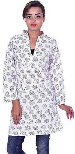 Indian-100-Cotton-Kurta-Designer-Women-Ethnic-Top-Tunic-Kurti-plus-size-Elephant-print-White-Color